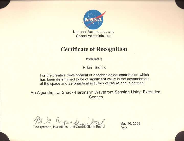 certificate with nasa - photo #17